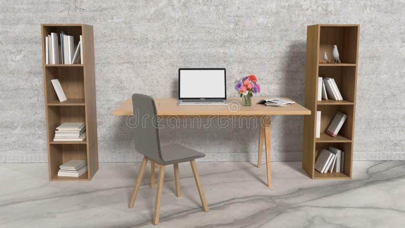 Pracuj?cy biurowy wewn?trzny projekt z laptopem na sto?u i p??ki na ksi??ki magazynie Domu i dekoracji poj?cie Architektura i sty ilustracja wektor