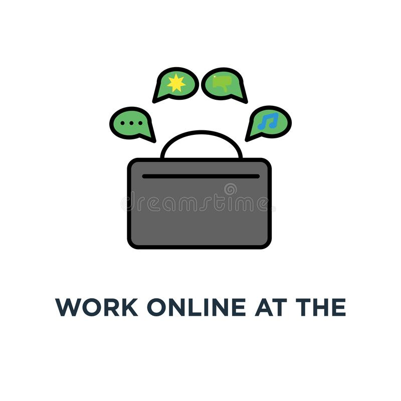 pracuje online przy komputerową, śliczną śmieszną rozochoconą kobietą, charakter pracuje pracy za ekranem komputerowy monitor ilustracji