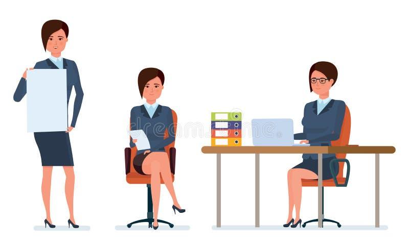 Pracuje w biurze z dokumentami, archiwa, projekty, analiza, statystyki, badanie ilustracja wektor