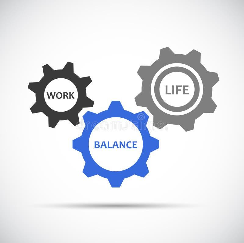 Pracy życia równowagi błękitne i popielate przekładnie ilustracji