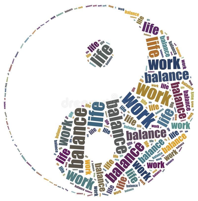 Pracy życia równowagi pojęcie Słowo obłoczna ilustracja ilustracja wektor