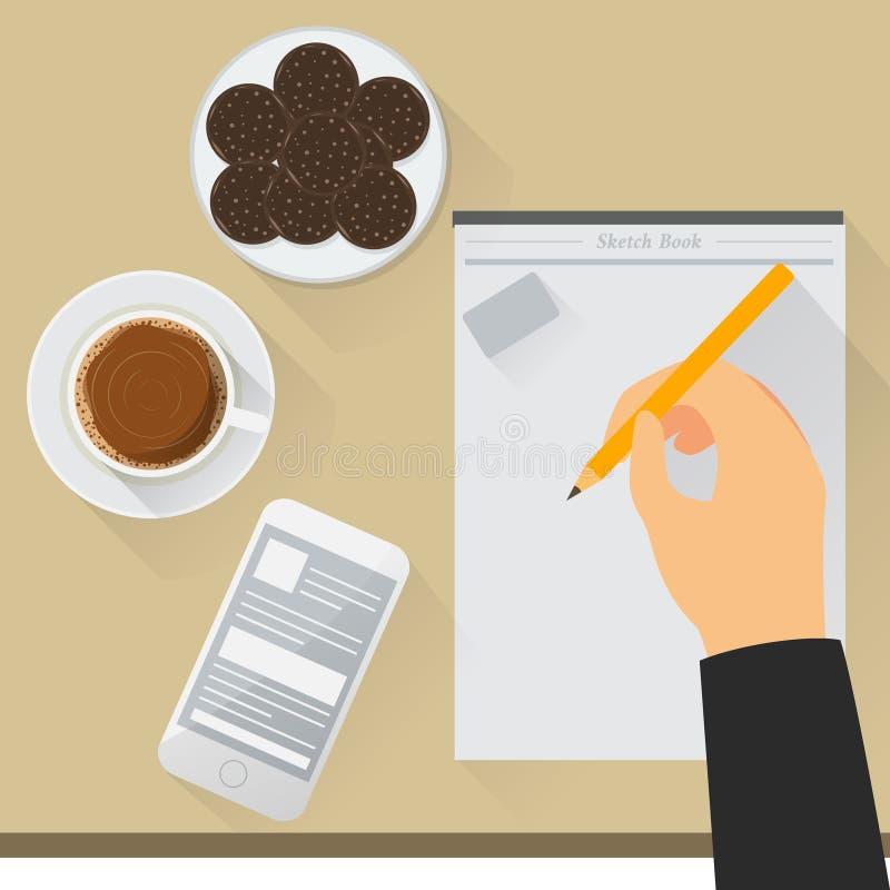 Pracy biurka ilustracja ilustracji