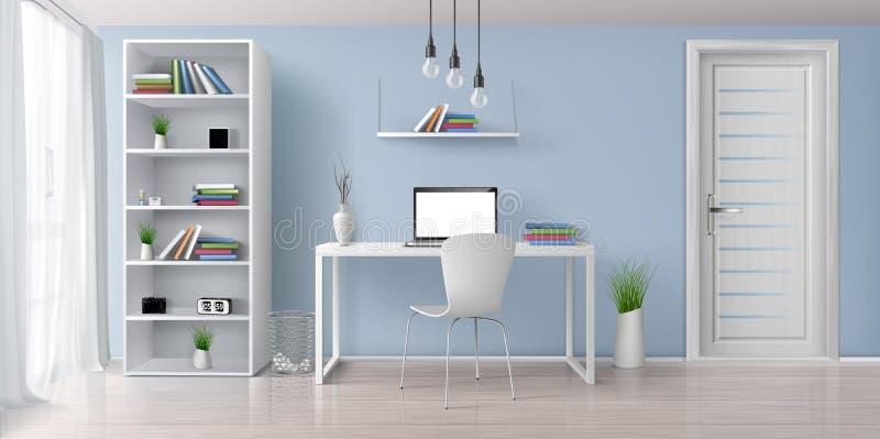 Pracy biurko w domowym wewnętrznym realistycznym wektorze ilustracja wektor
