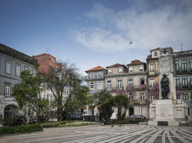 Pracy Carlos Alberto kwadrat w starym grodzkim Porto Portugal obraz royalty free
