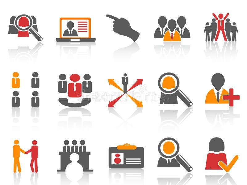 Pracy i działu zasobów ludzkich ikony ustawiać ilustracji