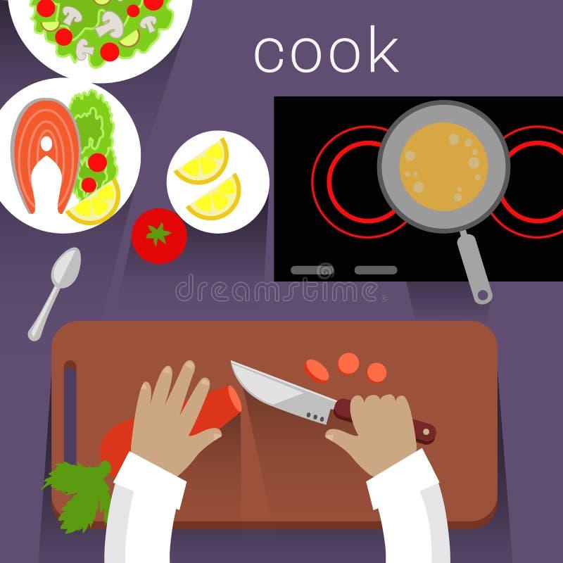 Pracy przestrzeni Cook projekta mieszkania pojęcie ilustracji