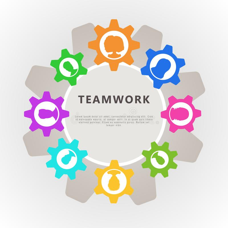 Pracy zespołowej pojęcie z cogwheel i ludźmi ikony avatar Sztandaru projekt dla biznesowej analizy, zarządzania projektem i współ ilustracja wektor