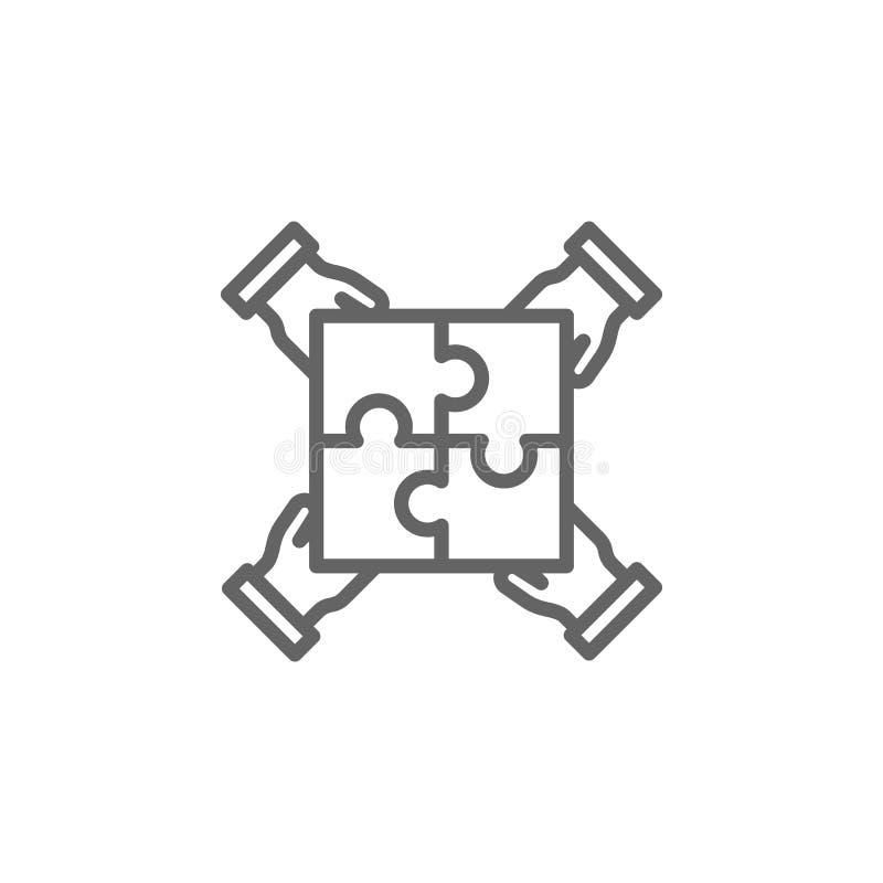 Pracy zespołowe ręki kontur ikona Elementy Biznesowa ilustracji linii ikona Znaki i symbole mog? u?ywa? dla sieci, logo, mobilny  ilustracja wektor