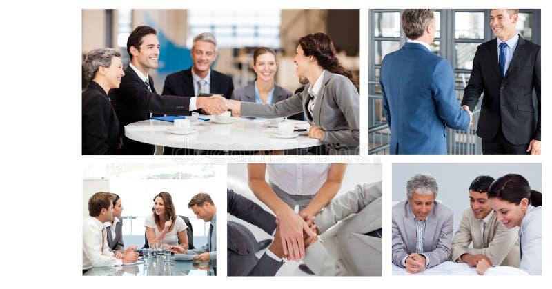 Pracy zespołowej biznesowego spotkania kolaż zdjęcie royalty free