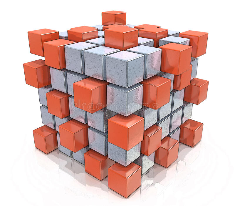 Pracy zespołowej biznesowy pojęcie - sześcian gromadzić od bloków ilustracja wektor