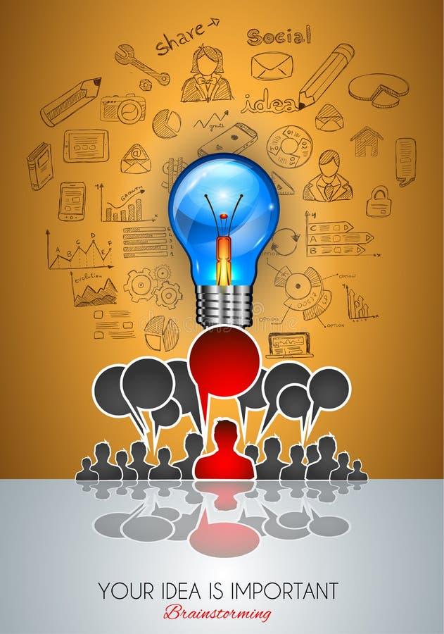 Pracy zespołowej Brainstorming pojęcia komunikacyjna sztuka ilustracja wektor