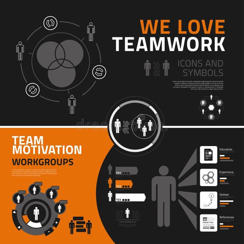 Pracy zespołowej infographics elementy, ikony i symbole, ilustracja wektor