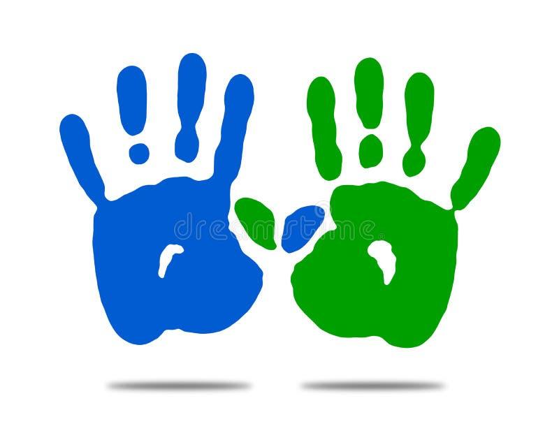 Pracy zespołowej kooperaci pojęcia Dwa ręki ilustracji