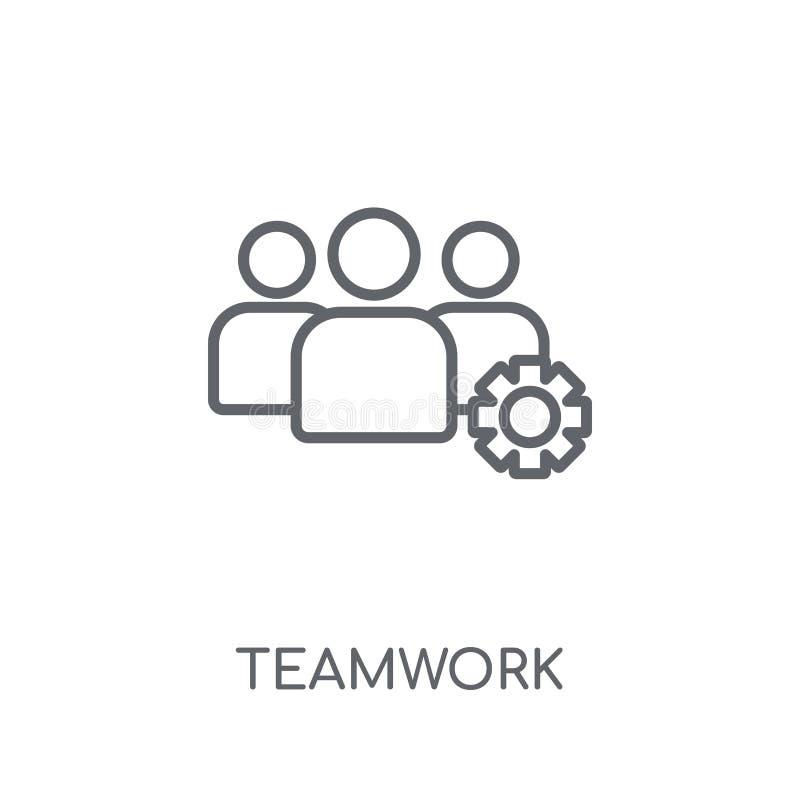 Pracy zespołowej liniowa ikona Nowożytny kontur pracy zespołowej logo pojęcie na wh ilustracji