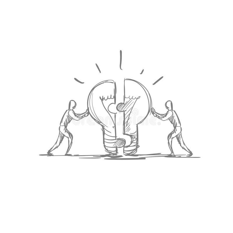 Pracy zespołowej pojęcia Brainstom światła Bubl pomysłu Nowego symbolu ręki Rysujący ludzie biznesu royalty ilustracja