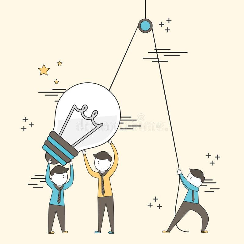 Pracy zespołowej pojęcie: biznesmena utworzenie duża oświetleniowa żarówka royalty ilustracja