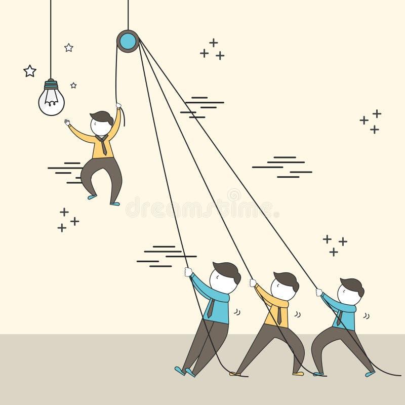 Pracy zespołowej pojęcie: biznesmena utworzenie duża oświetleniowa żarówka wewnątrz ilustracja wektor