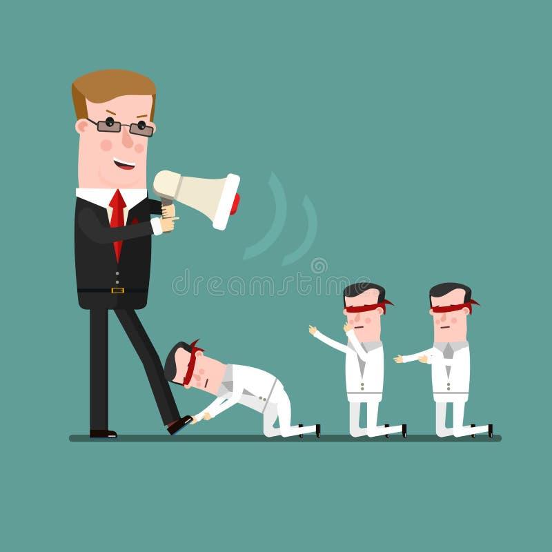 Pracy zespołowej pojęcie, Gniewny szef zgromi kogoś jego podwładnego Biznesowa pojęcie kreskówki ilustracja ilustracji