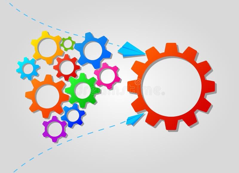 Pracy zespołowej pojęcie z kolorowymi przekładni ikonami Strategia biznesowa, przywódctwo i brainstorming, ilustracji