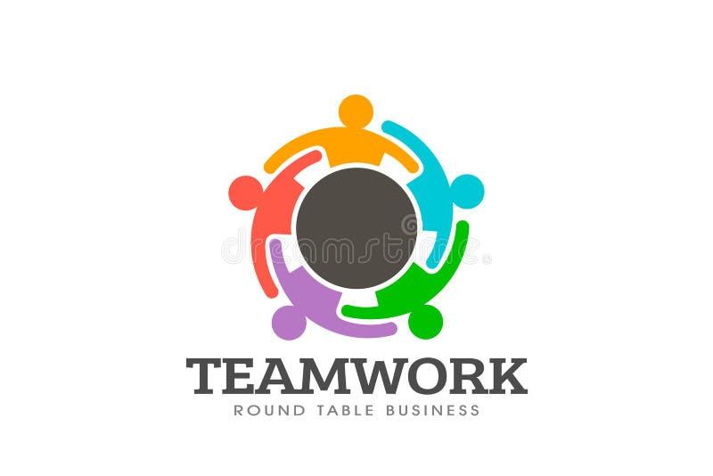 Pracy zespołowej round stołu logo wektor ilustracji
