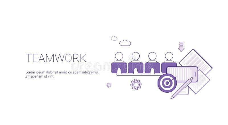 Pracy zespołowej sieci sztandar Z kopii przestrzeni biznesu drużyny współpracy pojęciem ilustracji