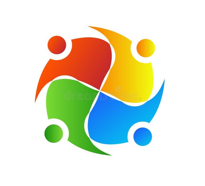 Pracy zespołowej spotkania grupowego, dyskusji i planowania ikony kolorowy logo, royalty ilustracja