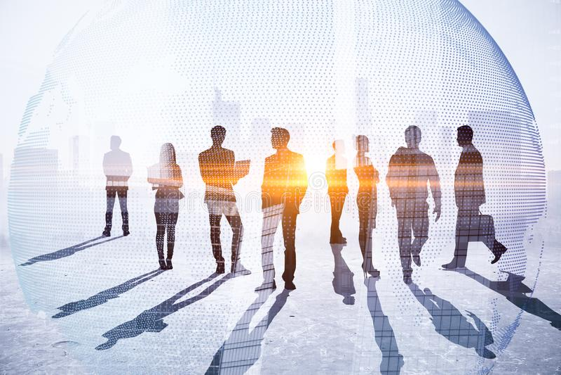 Pracy zespołowej, spotkania i globalnego biznesu pojęcie, royalty ilustracja