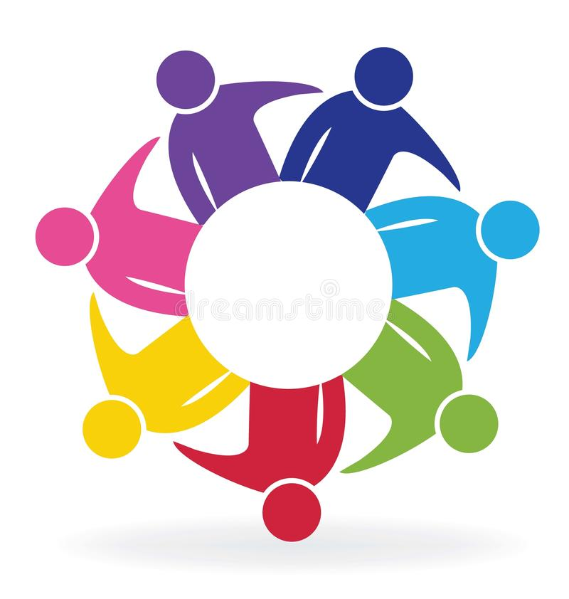 Pracy zespołowej spotkania loga ludzie biznesu ilustracji