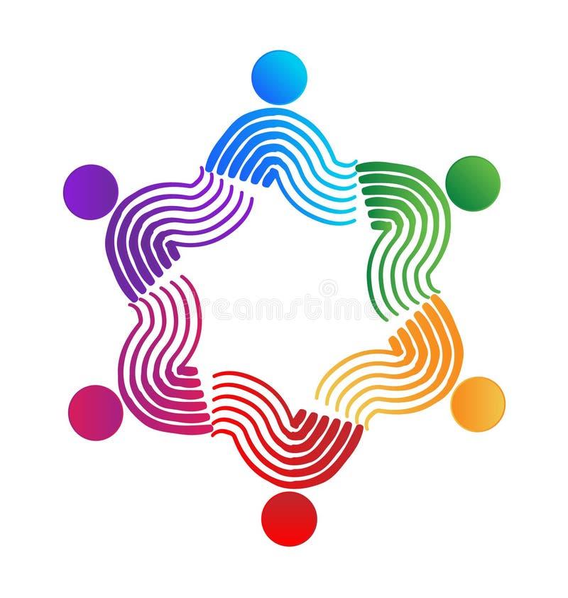 Pracy zespołowej swirly kolorowego wektorowego pojęcia ludzie ilustracja wektor