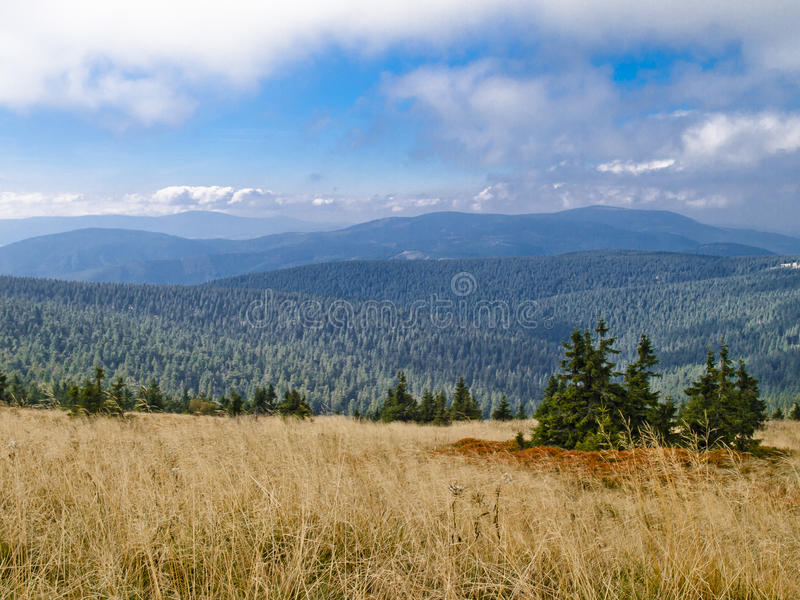 Praded, the highest mountain of Hruby Jeseník mountains. High Ash Mountains is the second highest mountain range in the Czech Republic stock image