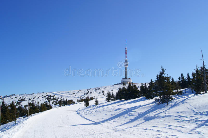 Praded outlook tower at winter. Praded outlook tower and TV and GSM transmitter at winter stock photo