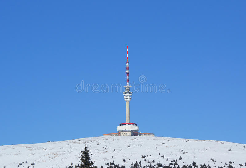 Praded outlook tower at winter. Praded outlook tower and TV and GSM transmitter at winter stock images