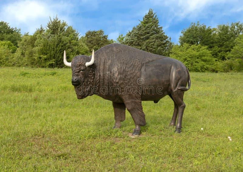 Pradera de Kachina de la estatua del bisonte americano, Ennis, Tejas fotografía de archivo
