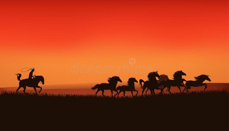 Pradera del oeste salvaje stock de ilustración
