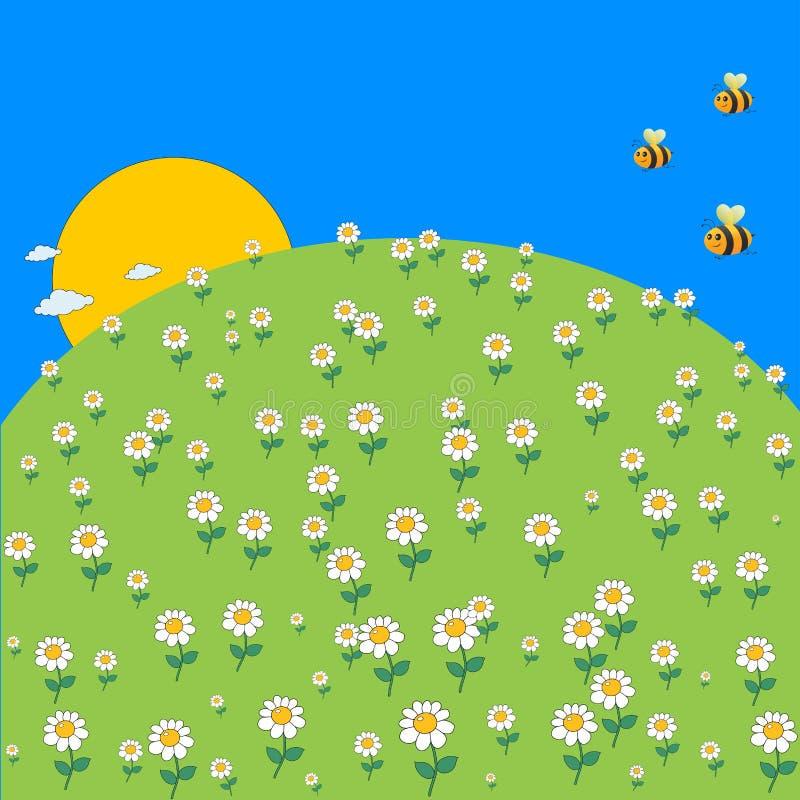 Prado bonito da mola dos desenhos animados com flores da margarida e abelha do voo ilustração do vetor
