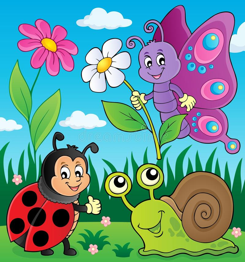 Prado com animais e o inseto pequenos 1 ilustração stock