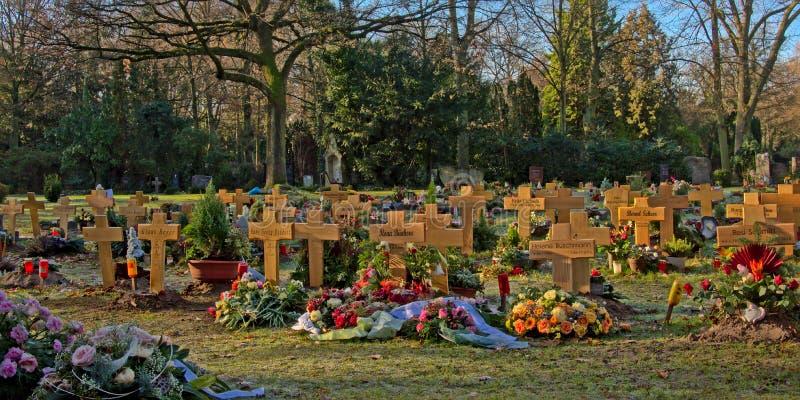 Prado com as sepulturas com cruzes de madeira no cemitério do ` de Melatenfriedhof do ` na água de Colônia, Alemanha imagens de stock