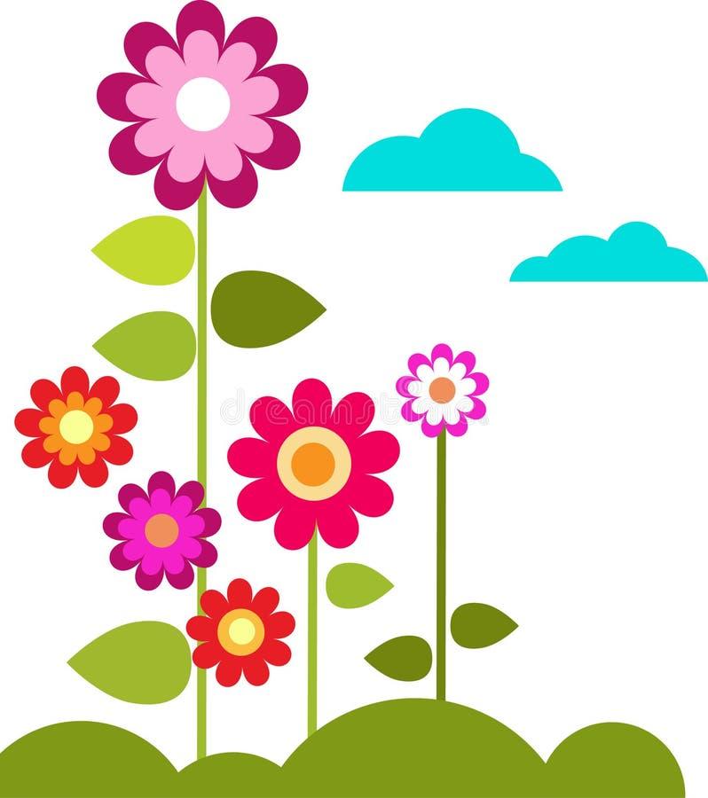 Prado com flores e nuvens ilustração royalty free