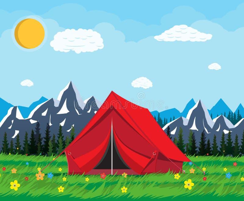 Prado com grama e acampamento ilustração do vetor