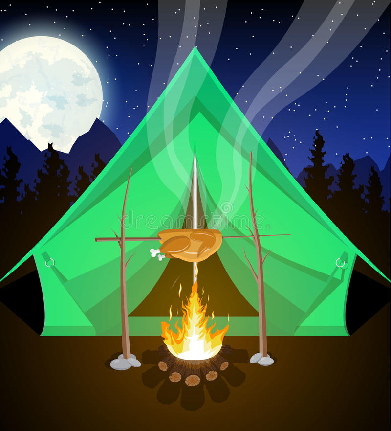 Prado com grama e acampamento ilustração stock