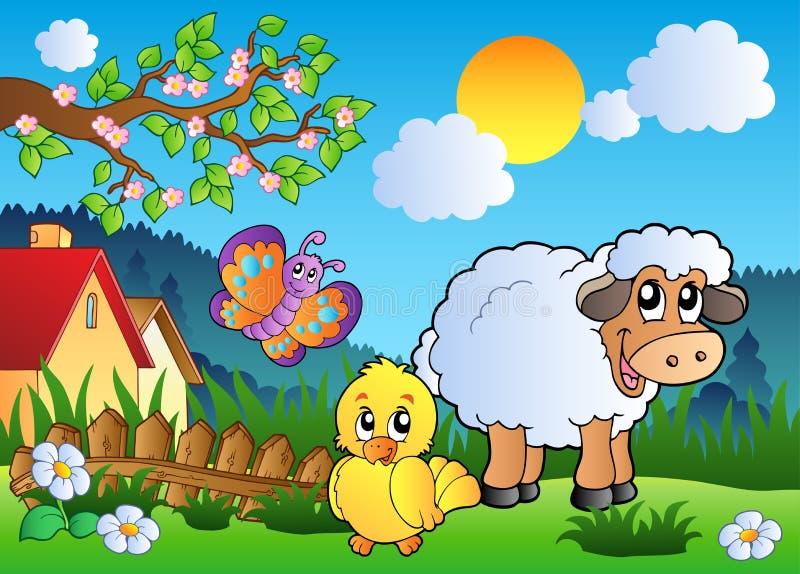 Prado com os animais felizes da mola ilustração royalty free