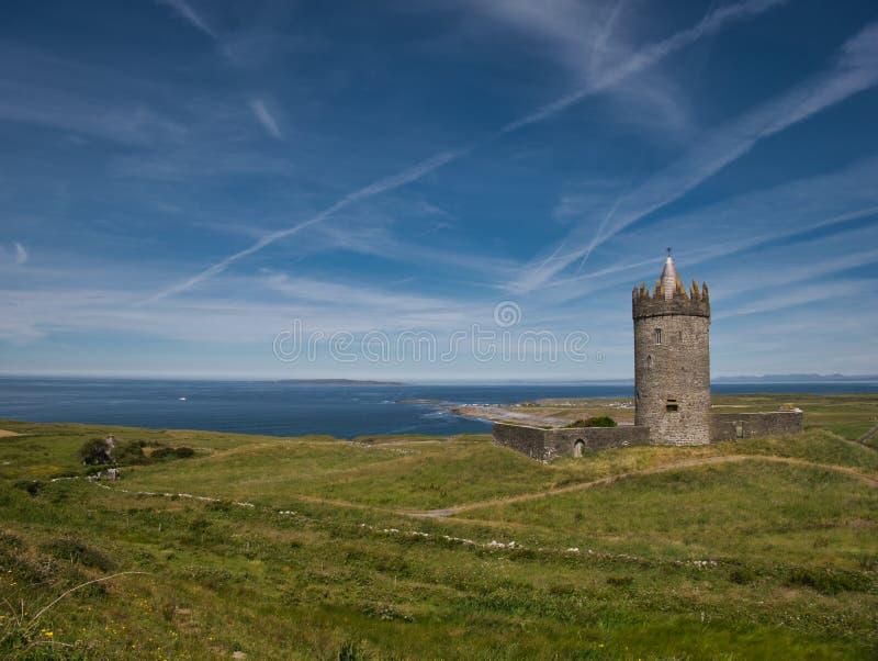Prado com torre do castelo e o Oceano Atlântico imagem de stock