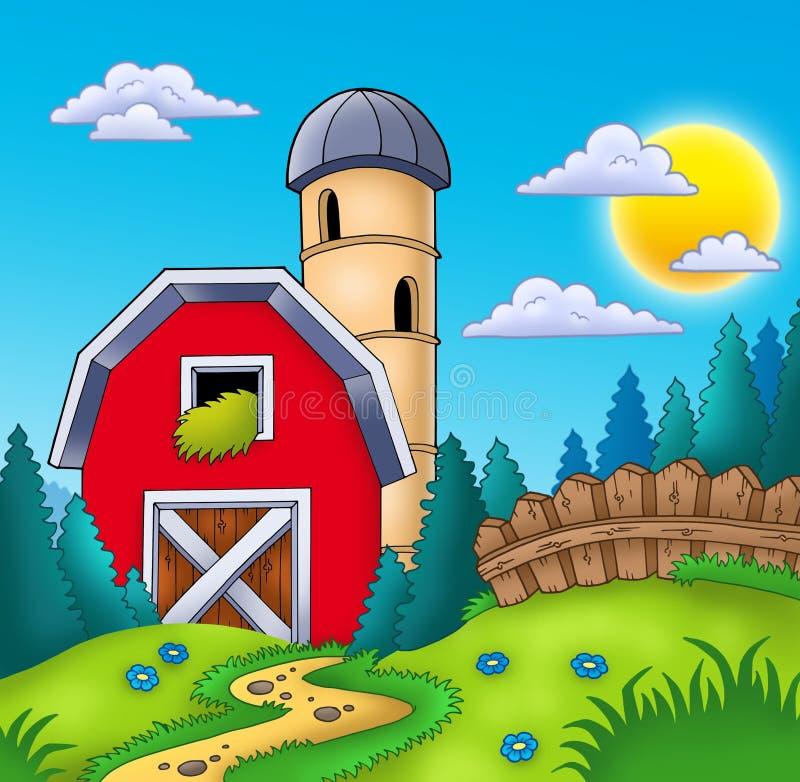 Prado con el granero rojo grande stock de ilustración
