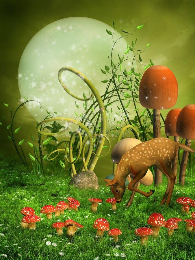 Prado da fantasia com um cervo ilustração royalty free