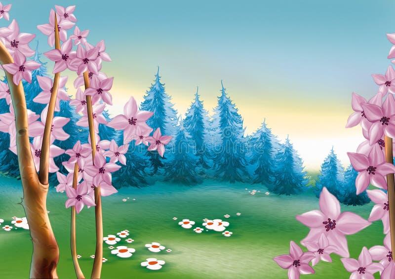 Prado da floresta da mola ilustração royalty free