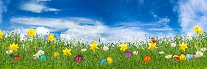 Prado da Páscoa com ovos da páscoa coloridos imagens de stock royalty free