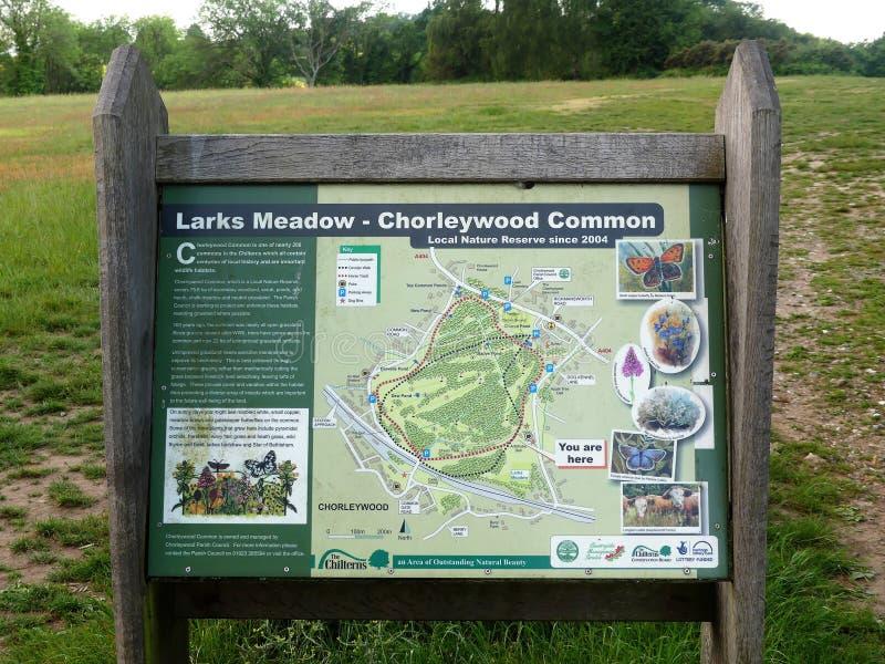 Prado das cotovias, sinal local comum da reserva natural de Chorleywood fotografia de stock