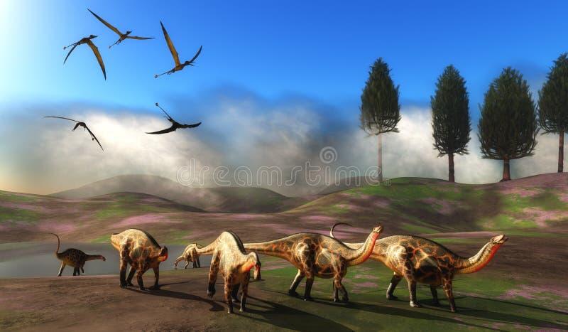 Prado del dinosaurio del Dicraeosaurus ilustración del vector