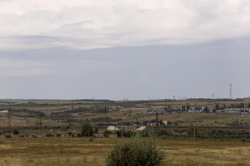 Prado del oro con los árboles verdes solos lejos y el cielo blando tranquilo azul arriba Hierba seca amarilla Polos eléctricos en imágenes de archivo libres de regalías
