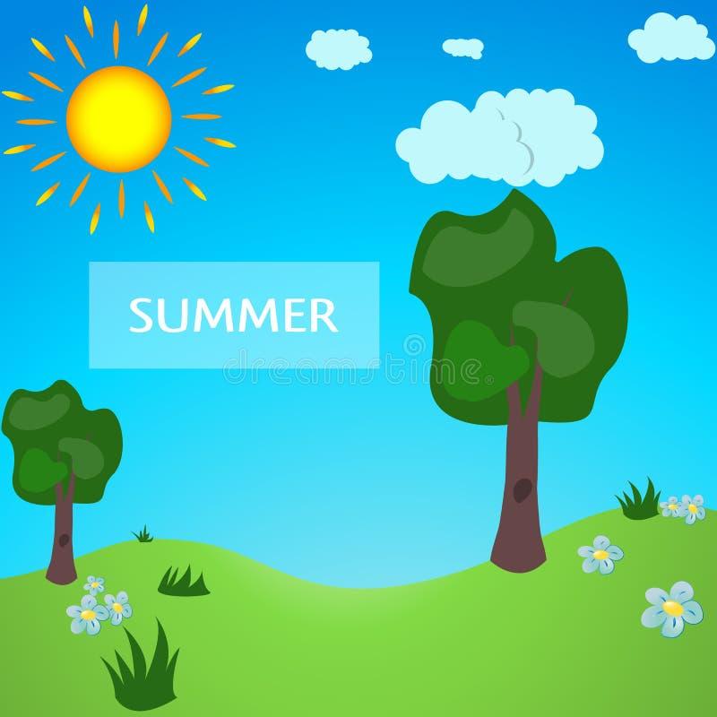 Prado del verano por completo del estilo de la historieta Parque verde Parque del verano, bosque del verano stock de ilustración